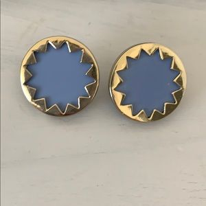 House of Harlow 1960 Starburst Blue Gold Studs